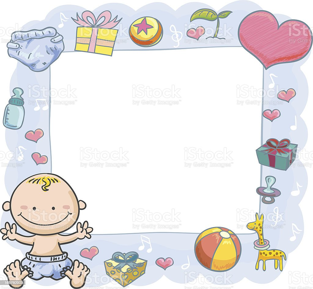 Baby Boy with orante frame vector art illustration