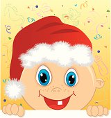 Vector illustration of baby boy with santa's hat peaking. Elements are on separate layers.