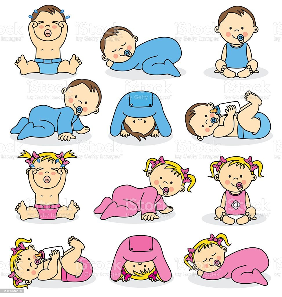 baby boys and baby girls vector art illustration
