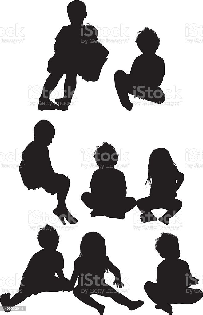 Baby boys and girls in various actions vector art illustration