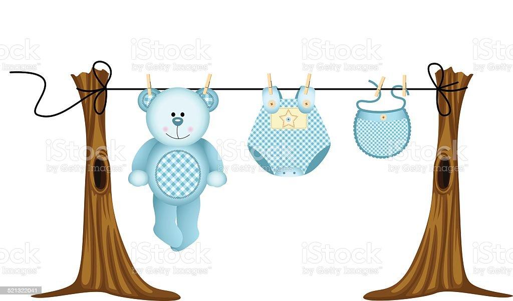 Ilustración de Niños Bebés Ropa Con Osito De Peluche Sobre La Cuerda ...