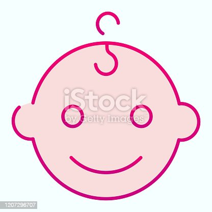 istock Baby boys face flat icon. Happy child portrait vector illustration isolated on white. Smiling baby boy gradient style design, designed for web and app. Eps 10. 1207296707