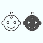 istock Baby boys face line and glyph icon. Happy child portrait vector illustration isolated on white. Smiling baby boy outline style design, designed for web and app. Eps 10. 1199239599