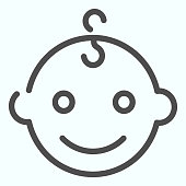 istock Baby boys face line icon. Happy child portrait vector illustration isolated on white. Smiling baby boy outline style design, designed for web and app. Eps 10. 1199236658