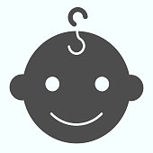 istock Baby boys face solid icon. Happy child portrait vector illustration isolated on white. Smiling baby boy glyph style design, designed for web and app. Eps 10. 1199236665