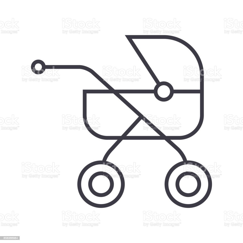 baby buggy,carriage vector line icon, sign, illustration on background, editable strokes vector art illustration