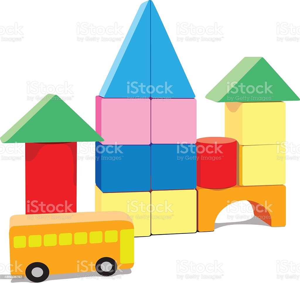 Baby building blocks, with bus and blank vector art illustration