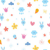 baby bunnies flowers clouds hearts kids seamless pattern