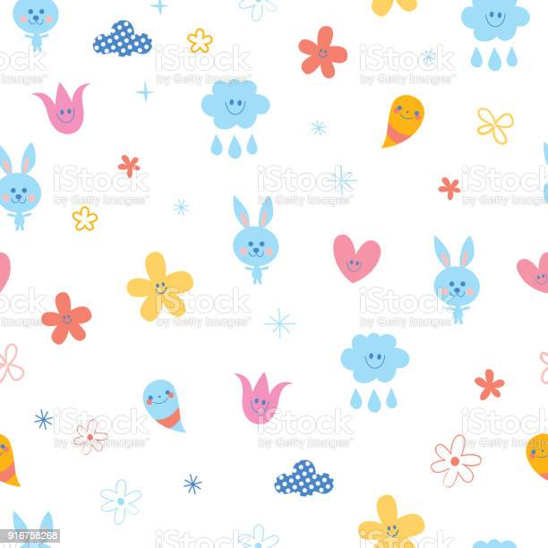 Baby bunnies flowers clouds hearts kids seamless pattern vector id916758268?b=1&k=6&m=916758268&s=612x612&h=rh670p9msv9etx34tj 0gmggak kseh uvzaydok is=