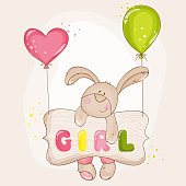 Baby Bunny with Balloons - Arrival Card