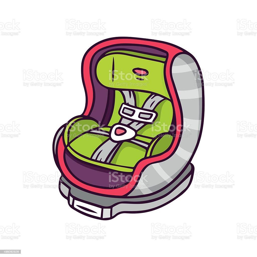 Baby car seat, bright vector children illustration isolated on white vector art illustration
