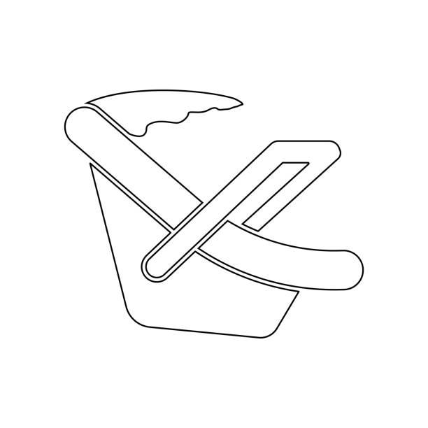 illustrations, cliparts, dessins animés et icônes de icône de siège de voiture de bébé. élément de bébé pour mobile concept et web apps icône. contour, icône de ligne mince pour la conception et le développement de site web, développement d'applications - child car sleep