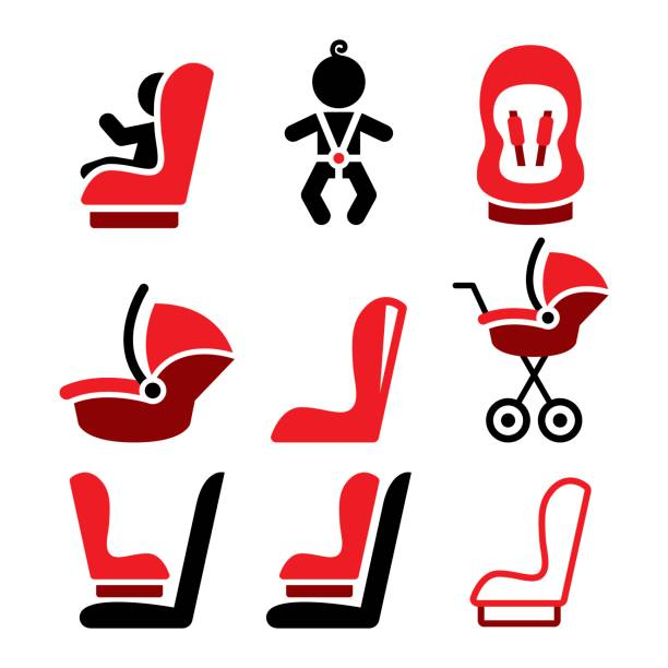 Baby Car Seat Vector Icons Toddle