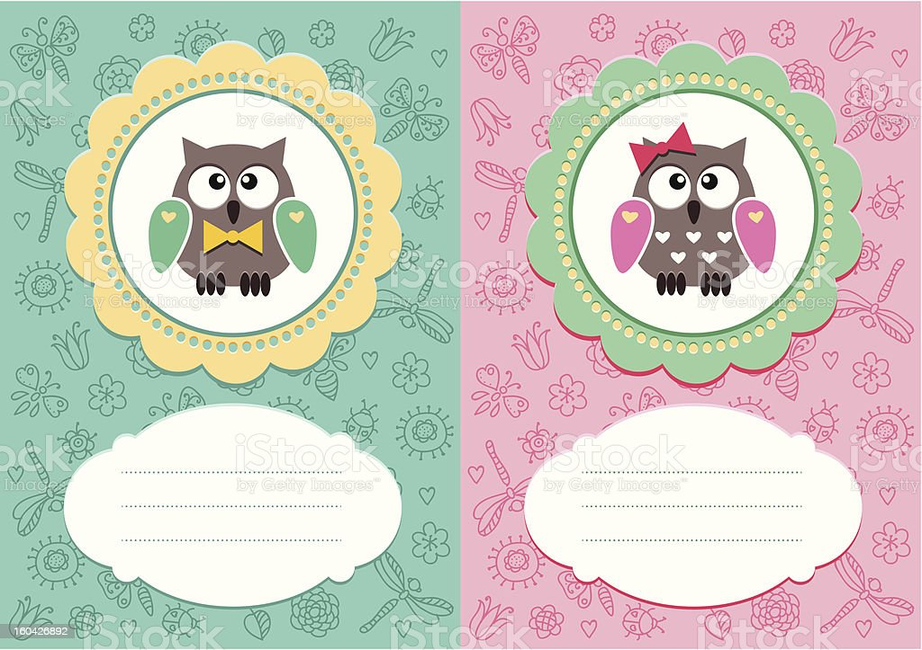 Baby cards with owlets vector art illustration