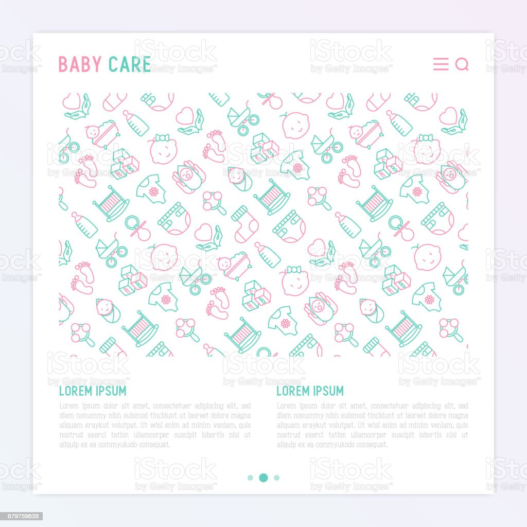 Baby care concept with thin line icons: newborn, diaper, pacifier, crib, footprints, bathtub with bubbles. Vector illustration for banner, web page, print media with place for text. vector art illustration