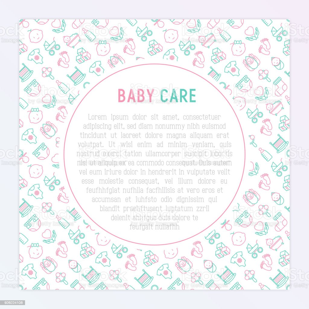 Baby Care Concept With Thin Line Icons Newborn Diaper Pacifier Crib ...