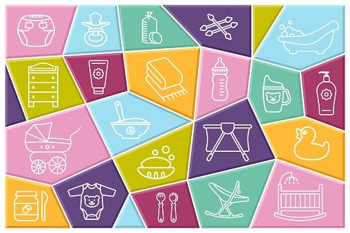 Baby care. Feeding and bathing of newborns. Set of Linear icons on colored polygons