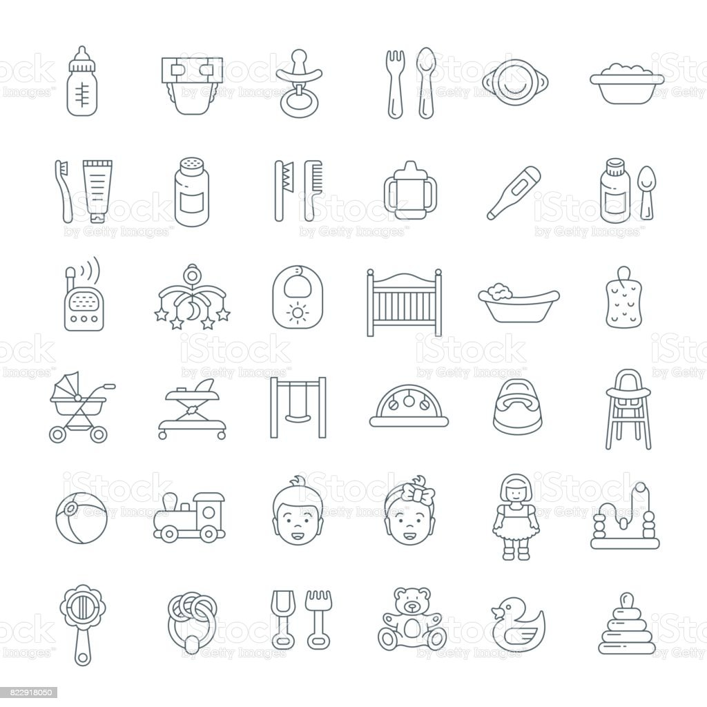 Baby care flat line vector icons vector art illustration