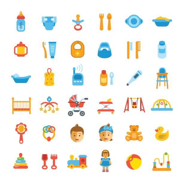 bildbanksillustrationer, clip art samt tecknat material och ikoner med baby care platt vektor ikoner - baby bathtub