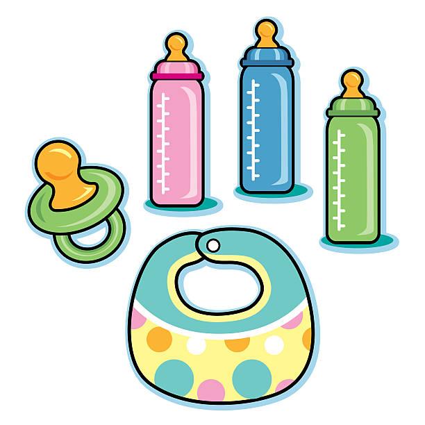 Baby care items including bib pacifier bottles vector art illustration