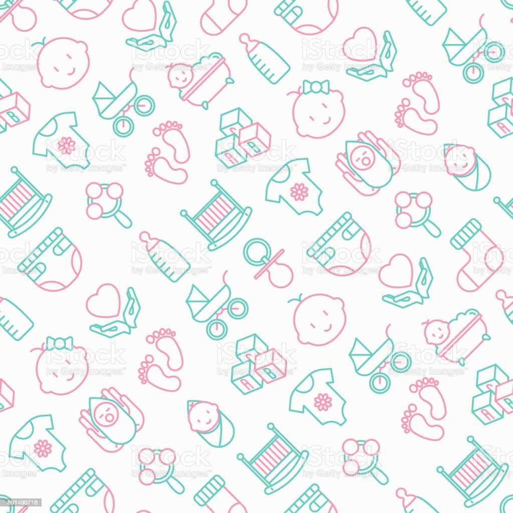 Baby verzorging naadloze patroon met dunne lijn pictogrammen: pasgeboren, luier, speen, wieg, voetafdrukken, bad met bubbels. Vectorillustratie voor achtergrond. - Royalty-free Achtergrond - Thema vectorkunst