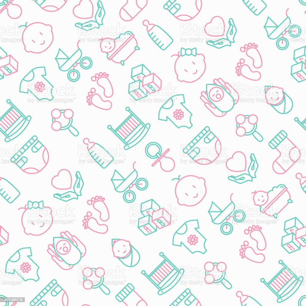 Baby care seamless pattern with thin line icons: newborn, diaper, pacifier, crib, footprints, bathtub with bubbles. Vector illustration for background.