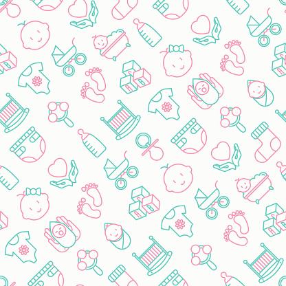 Baby Verzorging Naadloze Patroon Met Dunne Lijn Pictogrammen Pasgeboren Luier Speen Wieg Voetafdrukken Bad Met Bubbels Vectorillustratie Voor Achtergrond Stockvectorkunst en meer beelden van Achtergrond - Thema