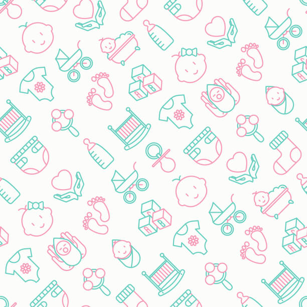 Bекторная иллюстрация Baby care seamless pattern with thin line icons: newborn, diaper, pacifier, crib, footprints, bathtub with bubbles. Vector illustration for background.