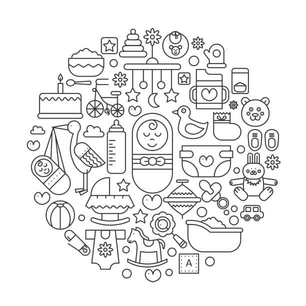 babypflege im kreis - konzept linie vektor-illustration für abdeckung, emblem, abzeichen. dünne liniensymbole gesetzt. - korrekturlesen stock-grafiken, -clipart, -cartoons und -symbole