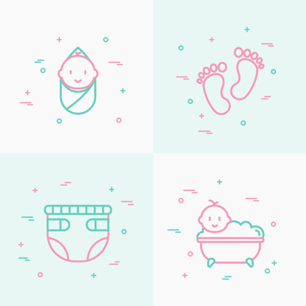 bildbanksillustrationer, clip art samt tecknat material och ikoner med baby care tunn linje ikoner set: nyfödda, blöja, footprints, badkar med bubblor. moderna vektorillustration. - baby bathtub