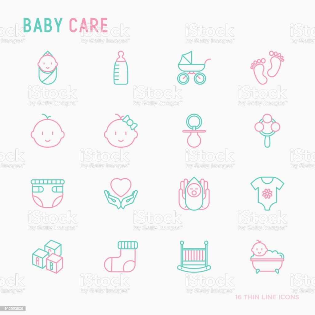 Baby care thin line icons set: newborn, diaper, pacifier, crib, footprints, bathtub with bubbles. Vector illustration.