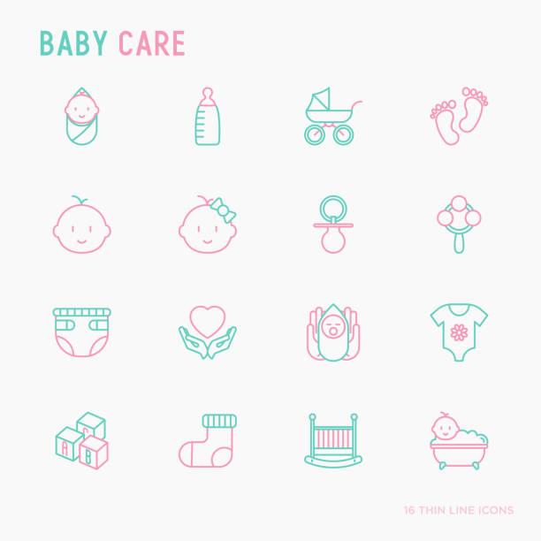 baby-pflegeset dünne linie symbole: neugeborene, windel, schnuller, krippe, fußabdrücke, badewanne mit bläschen. vektor-illustration. - möbelfüße stock-grafiken, -clipart, -cartoons und -symbole