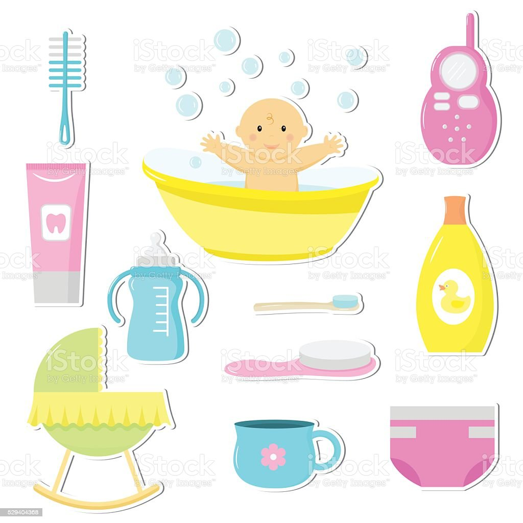 Baby care vector art illustration