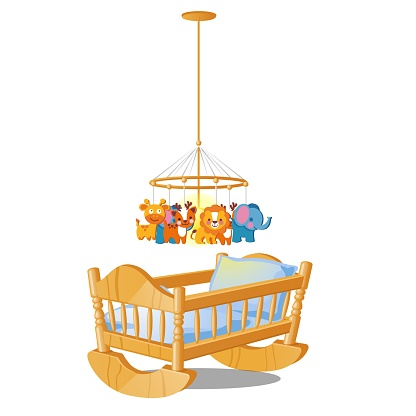 Baby carousel with hanging toys over wooden cot isolated on white background. Vector cartoon close-up illustration