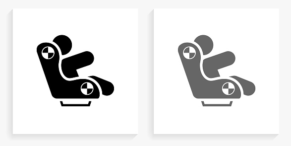 Baby Carriage Black and White Square Icon