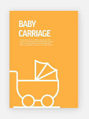 Baby Carriage Concept Template Layout Design. Modern Brochure, Book Cover, Flyer Design Template