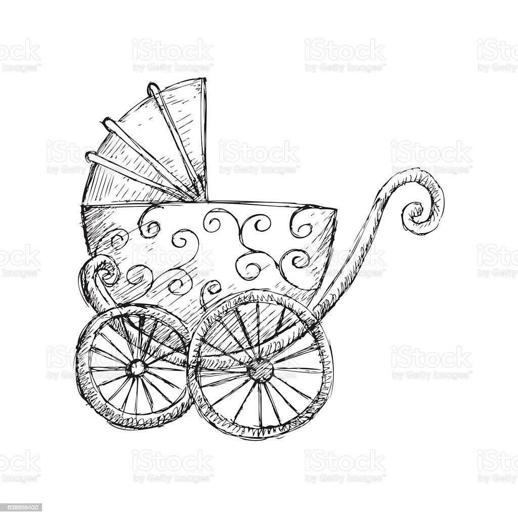 Pram with heart shaped balloons thin line icon, newborn holiday concept, Baby  carriage sign on white background, baby stroller with heart balloon symbol  in outline style for mobile, web. Vector.: Royalty-free vector