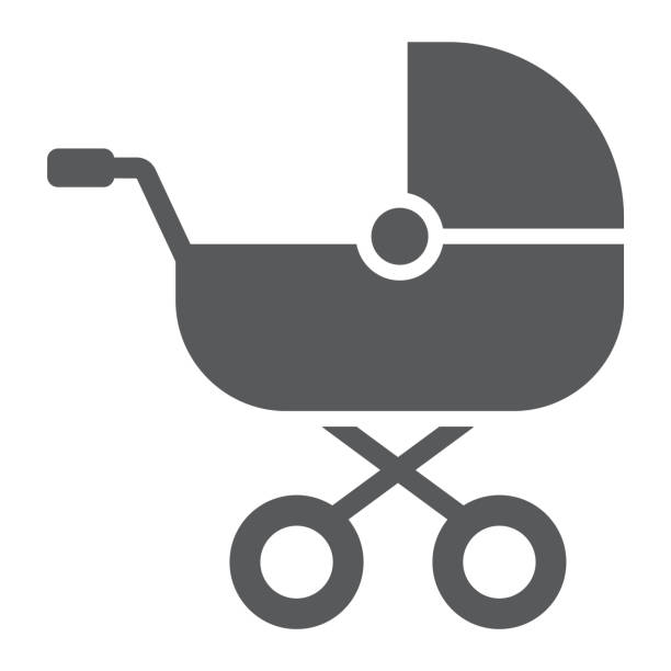 Baby carriage glyph icon, child and pram, buggy sign, vector graphics, a solid pattern on a white background. Baby carriage glyph icon, child and pram, buggy sign, vector graphics, a solid pattern on a white background, eps 10. baby carriage stock illustrations