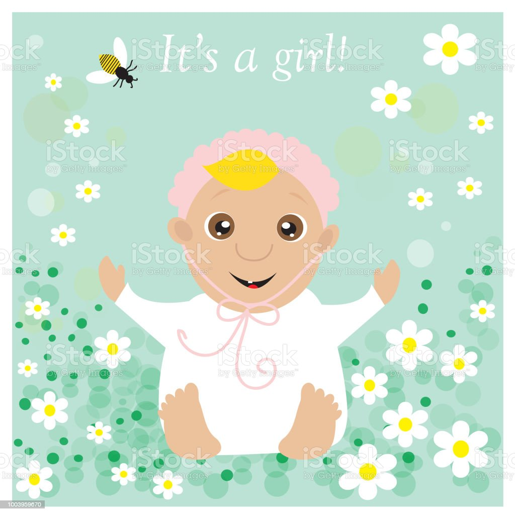 Baby Carriage Greeting Card To Newborn Baby It S A Girl Stock Vector