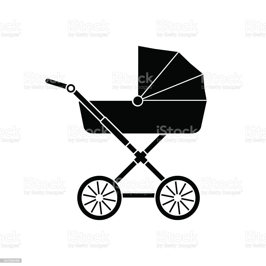 Baby carriage icon.  Baby stroller icon silhouette. Vector. vector art illustration