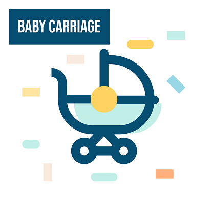 Baby Carriage Icon Colored Design