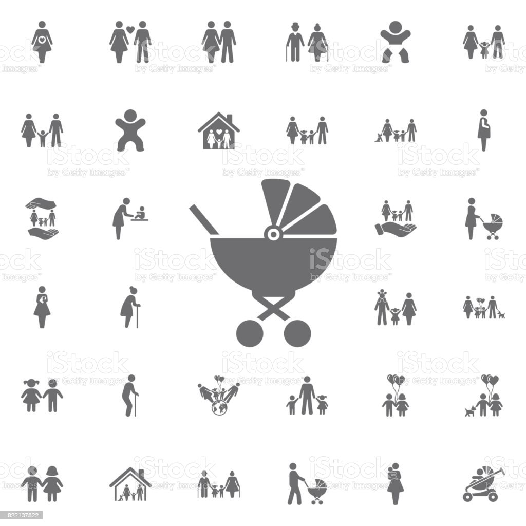 Baby carriage icon. Set of family icons vector art illustration