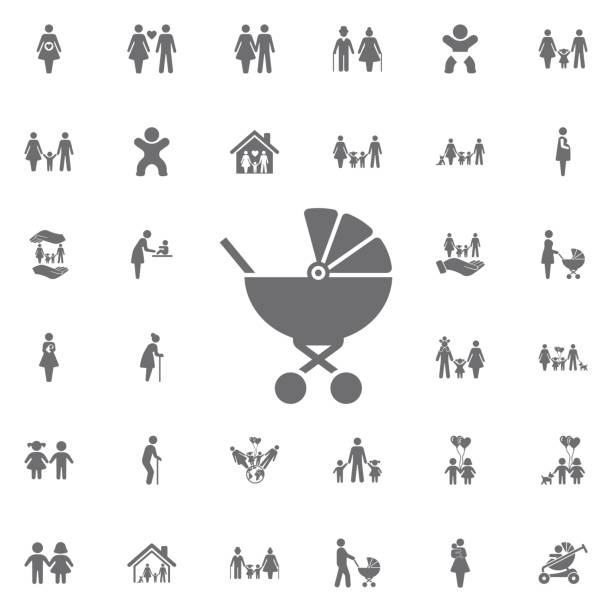 baby carriage icon. set of family icons - babysitter stock illustrations, clip art, cartoons, & icons