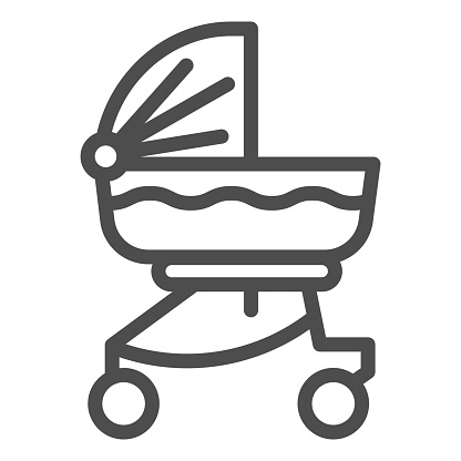 Baby carriage line icon. Child stroller outline style pictogram on white background. Newborn transportation in buggy or pram for mobile concept and web design. Vector graphics.