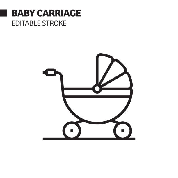 Baby Carriage Line Icon, Outline Vector Symbol Illustration. Pixel Perfect, Editable Stroke. Baby Carriage Line Icon, Outline Vector Symbol Illustration. Pixel Perfect, Editable Stroke. baby carriage stock illustrations
