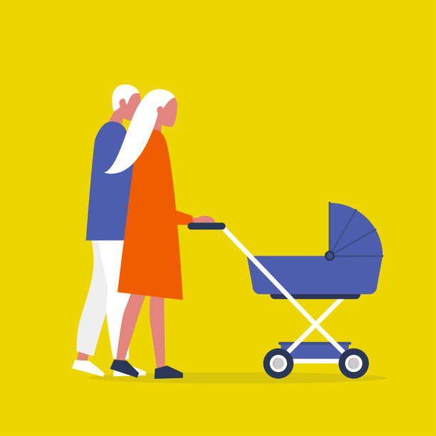 Baby carriage. Pram. A couple of characters walking with a stroller. Modern parenthood. Flat editable vector illustration, clip art Baby carriage. Pram. A couple of characters walking with a stroller. Modern parenthood. Flat editable vector illustration, clip art baby carriage stock illustrations