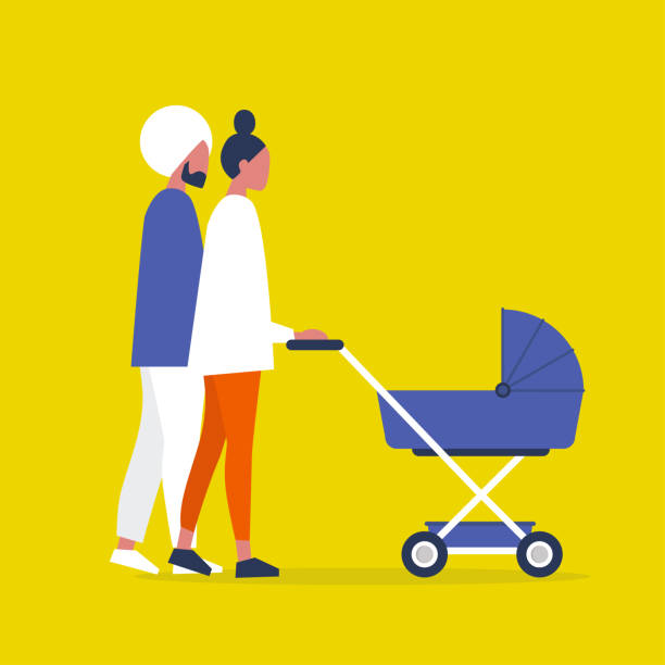 Baby carriage. Pram. A couple of characters walking with a stroller. Modern parenthood. Flat editable vector illustration, clip art Baby carriage. Pram. A couple of characters walking with a stroller. Modern parenthood. Flat editable vector illustration, clip art indian family stock illustrations
