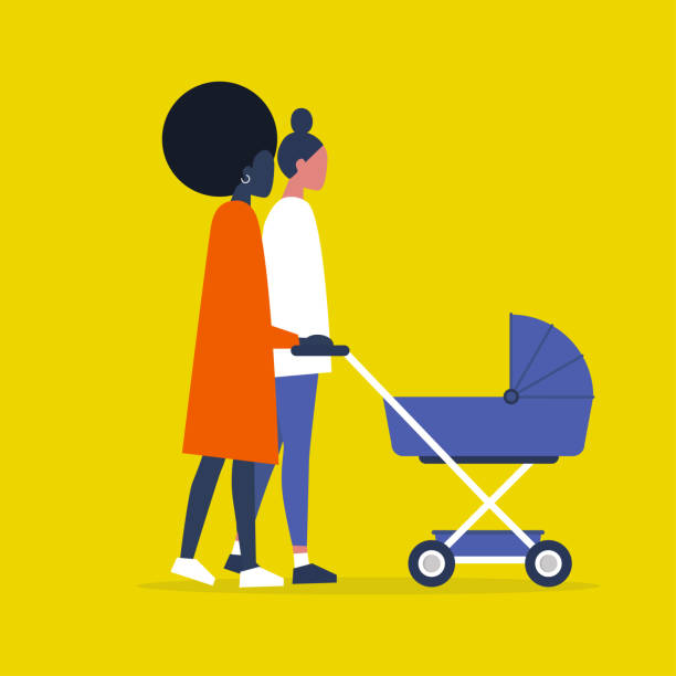 Baby carriage. Pram. Homosexual couple of female characters walking with a stroller. Modern parenthood. Flat editable vector illustration, clip art Baby carriage. Pram. Homosexual couple of female characters walking with a stroller. Modern parenthood. Flat editable vector illustration, clip art gay person stock illustrations