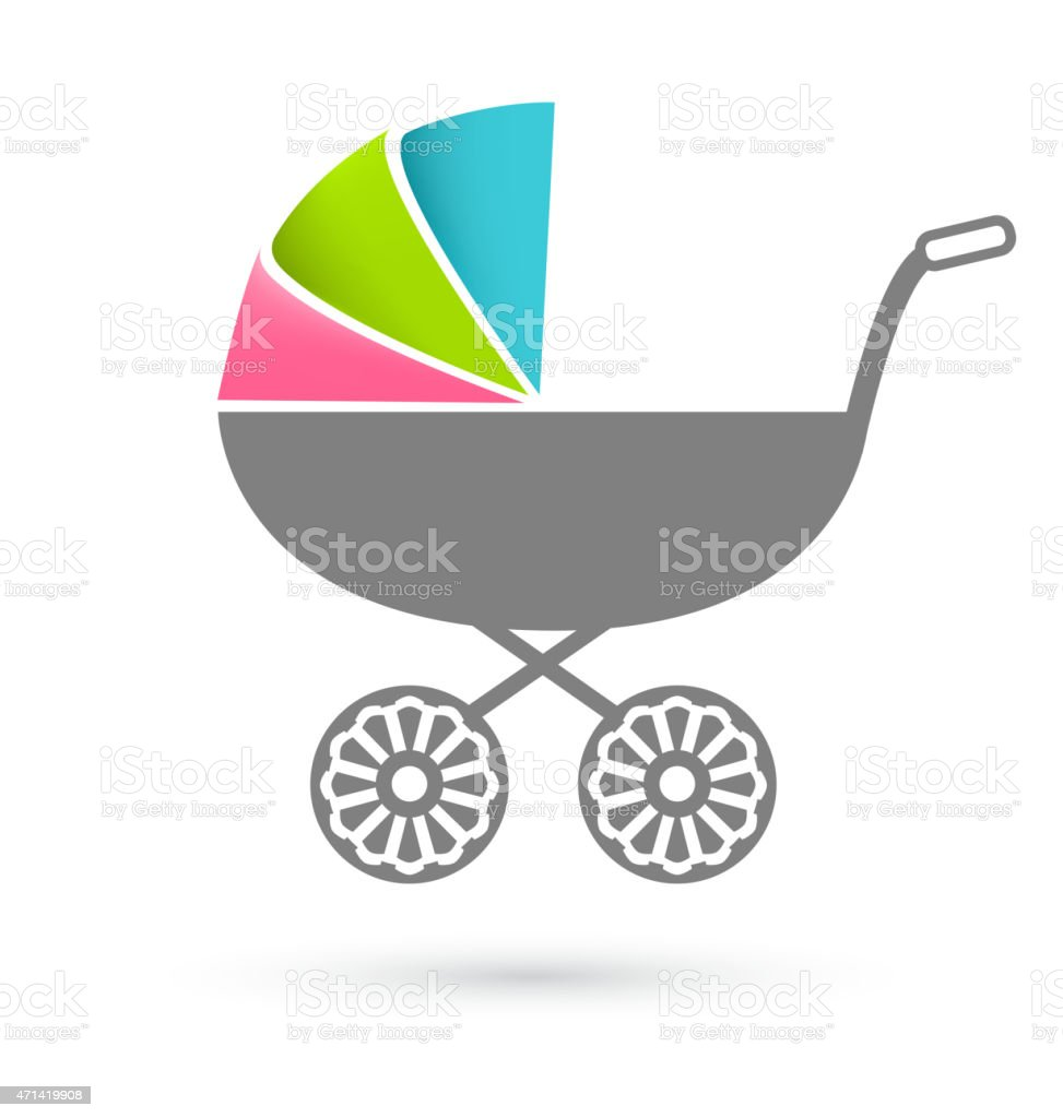Baby carriage - pram icon isolated on white vector art illustration
