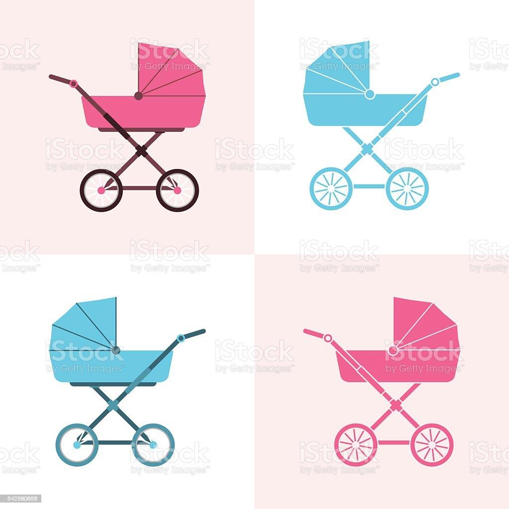 Baby carriage. Pram icon. Vector illustration. vector art illustration